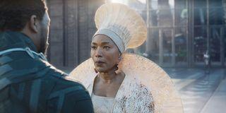 Queen Ramonda greeting T'Challa upon his return to Wakanda in Black Panther