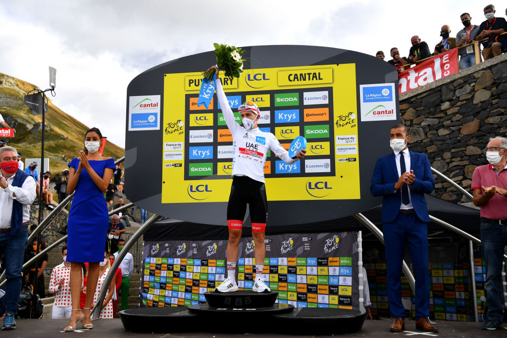 CANTAL FRANCE SEPTEMBER 11 Podium Tadej Pogacar of Slovenia and UAE Team Emirates White Best Young Rider Jersey Celebration during the 107th Tour de France 2020 Stage 13 a 1915km stage from ChtelGuyon to Pas de PeyrolLe Puy Mary Cantal 1589m TDF2020 LeTour on September 11 2020 in Cantal France Photo by Stuart FranklinGetty Images