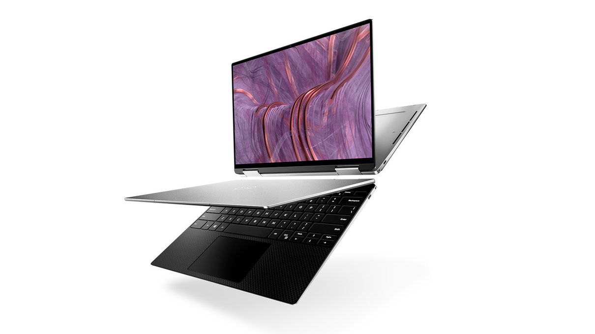 Two Dell XPS 13 2-in-1 (2020), one in stand mode, the other in laptop mode, against a white background