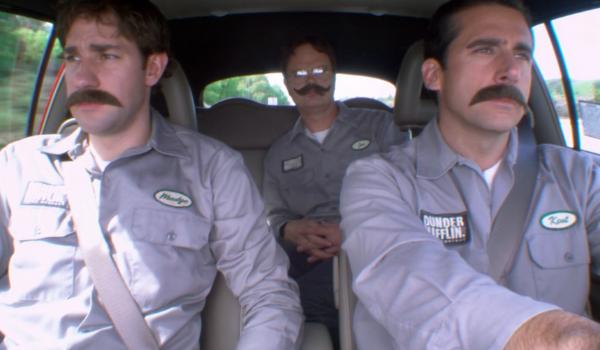 The Office John Krasinski, Rainn Wilson, Steve Carell with mustaches