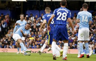 Gabriel Jesus scoring against Chelsea to give Manchester City the lead