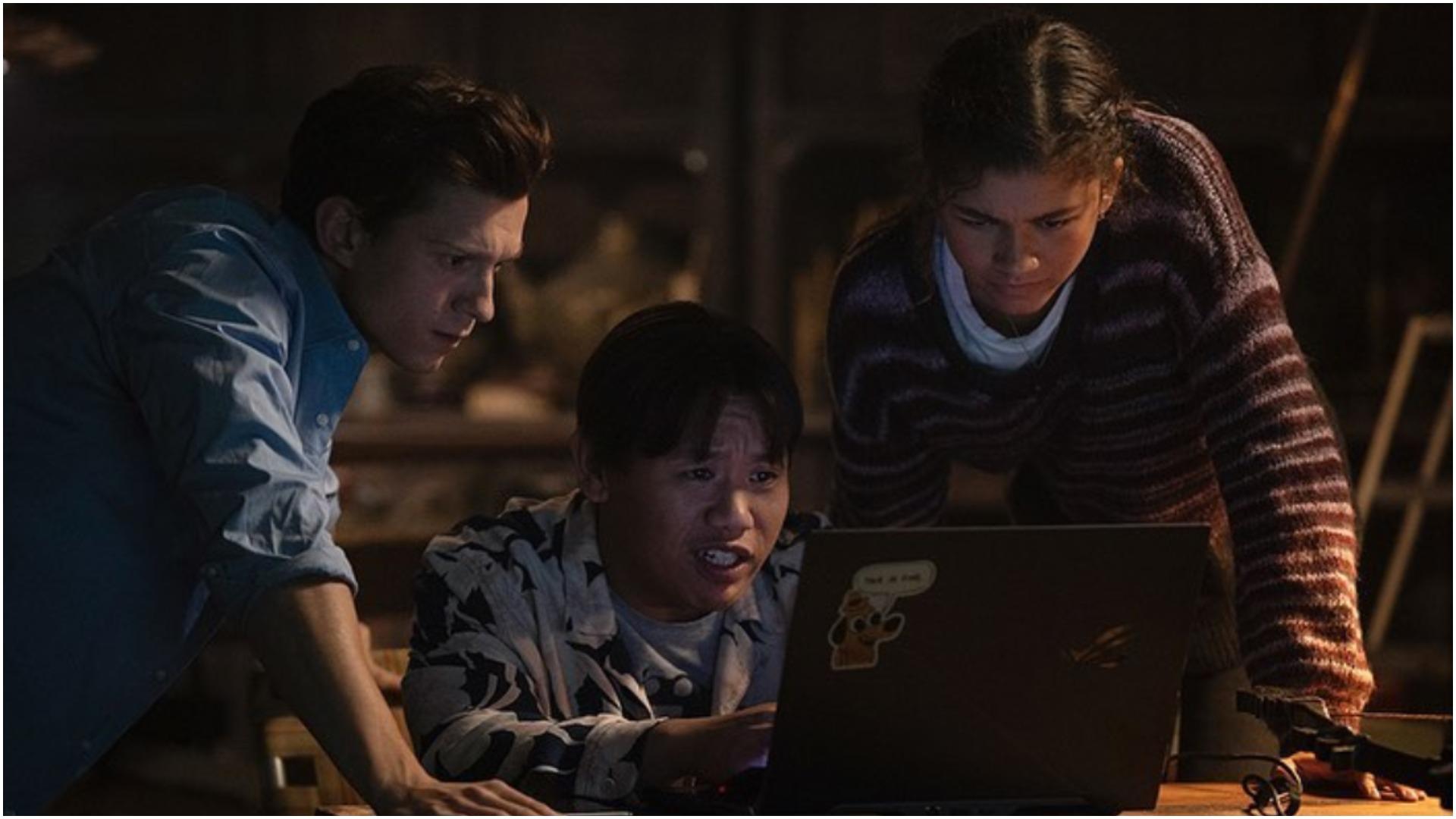 Tom Holland, Zendaya y Jacob Batalon en Spider-Man 3