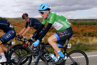 VINUESA SPAIN OCTOBER 22 Daniel Martin of Ireland and Team Israel StartUp Nation Green Points Jersey Christopher Froome of The United Kingdom and Team INEOS Grenadiers during the 75th Tour of Spain 2020 Stage 3 a 1661km stage from Lodosa to La Laguna Negra Vinuesa 1735m lavuelta LaVuelta20 La Vuelta on October 22 2020 in Vinuesa Spain Photo by Justin SetterfieldGetty Images