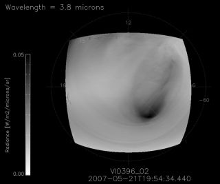 Infrared Radiation from Storm Circling Venus South Pole