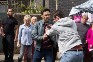 Martin pushes Kush in EastEnders