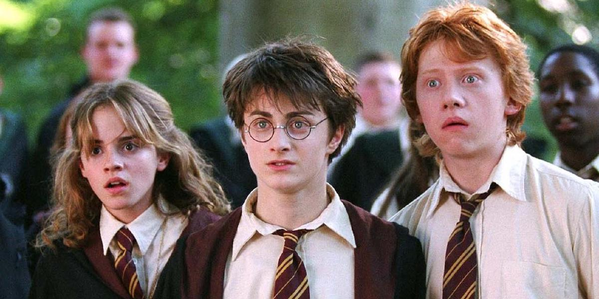 Hermione, Harry and Ron look shocked in a scene from Harry Potter and the Prisoner of Azkaban