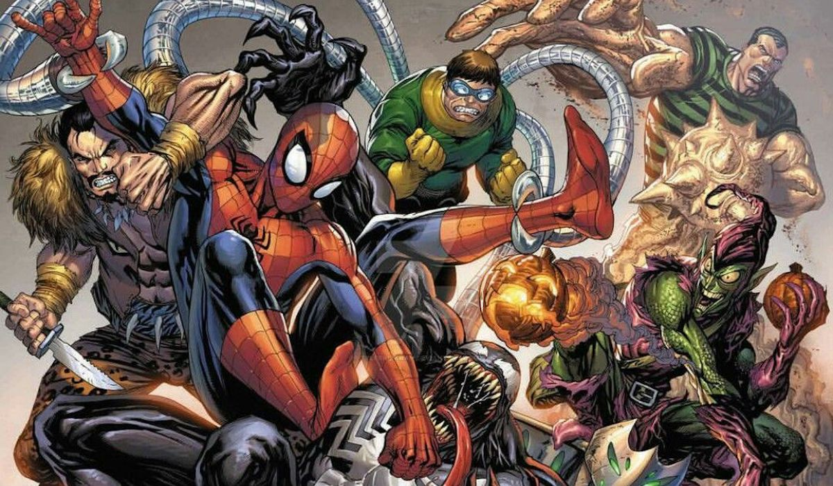 Spider-Man and the Sinister Six, including Venom, Otto Octavius, Kraven the Hunter, Green Goblin, Sa