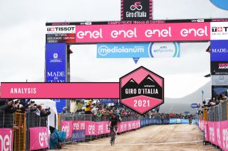 CAMPO FELICE - ROCCA DI CAMBIO, ITALY - MAY 16: Egan Arley Bernal Gomez of Colombia and Team INEOS Grenadiers celebrates at arrival during the 104th Giro d'Italia 2021, Stage 9 a 158km stage from Castel di Sangro to Campo Felice - Rocca di Cambio 1665m / @girodiitalia / #Giro / #UCIworldtour / on May 16, 2021 in Campo Felice - Rocca di Cambio, Italy. (Photo by Tim de Waele/Getty Images)