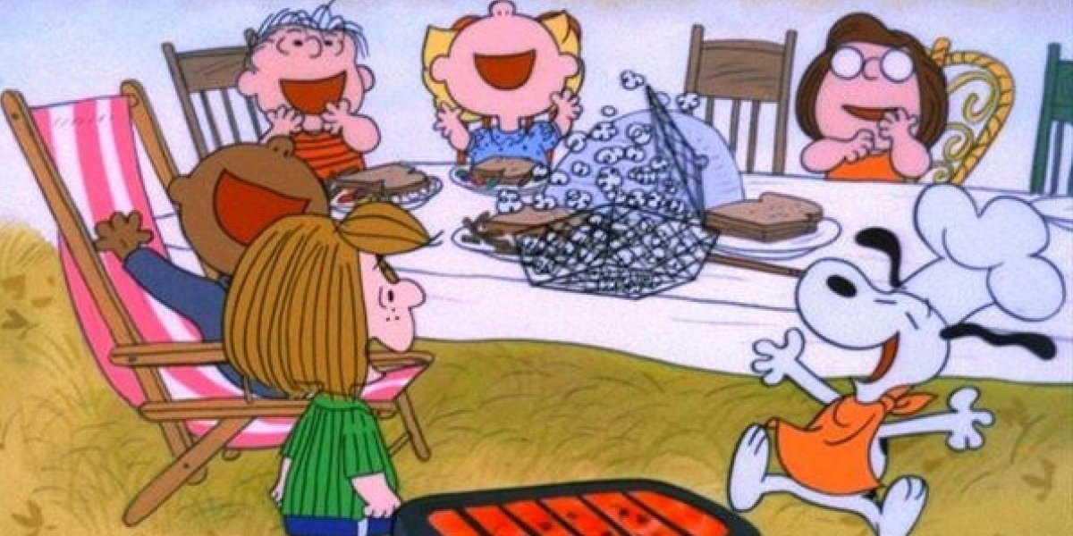 A Charlie Brown Thanksgiving Snoopy and his friends shout for joy
