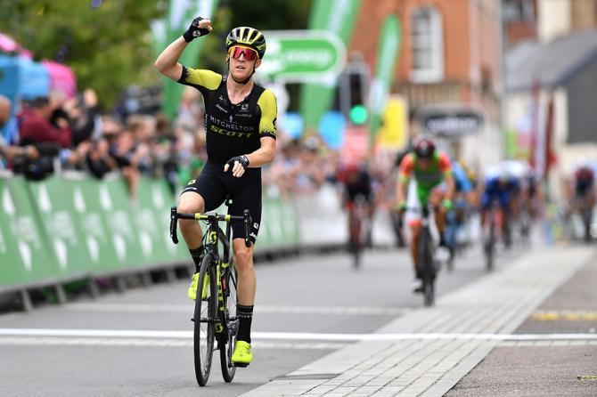Cameron Meyer (Mitchelton-Scott) wins breakaway sprint during stage 2 in Barnstaple