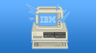 IBM PC illustration with IBM logo on blue gradient background
