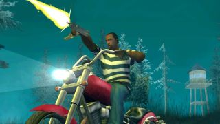 Carl Johnson rides a motorcycle and fires a submachine gun into the night in GTA: San Andreas.