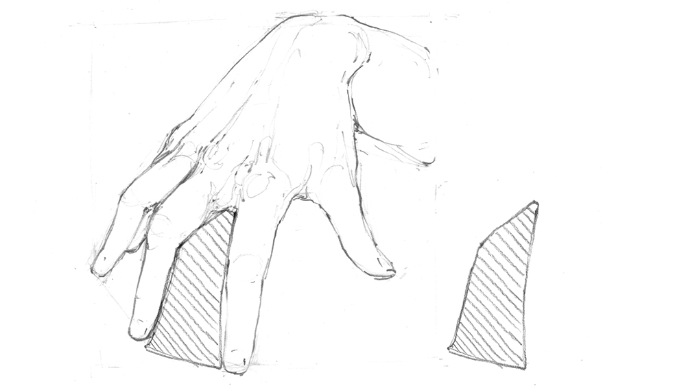 Sketch of hand with negative spaces detailed using diagonal lines