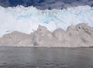 A large wave formed by a disintegrating Greenland glacier nearly capsized the boat Jens Møller was on.
