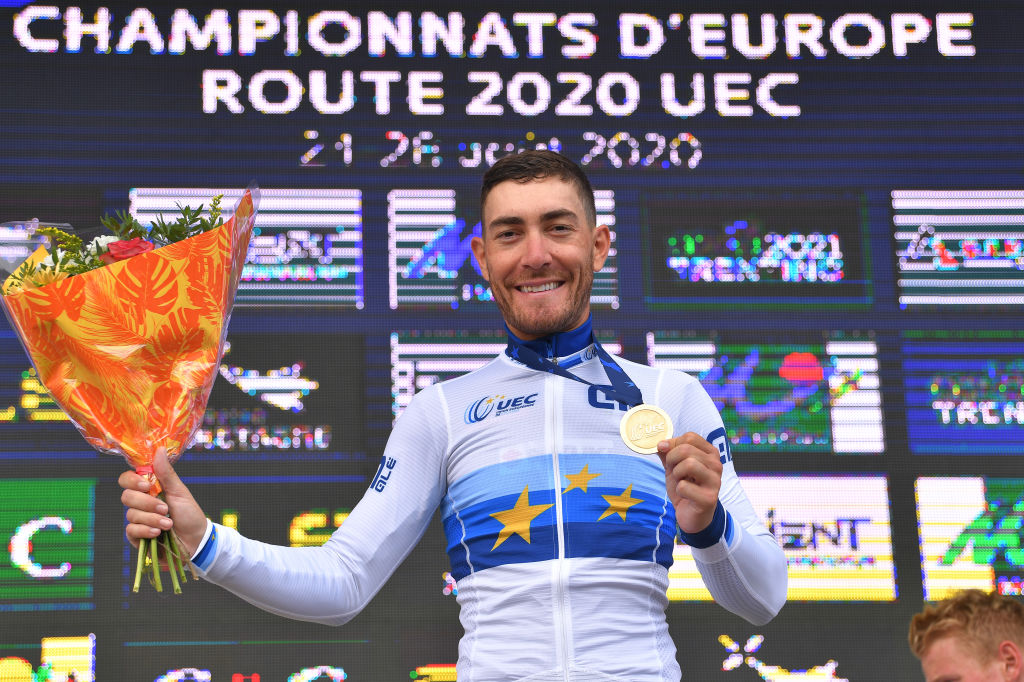 PLOUAY FRANCE AUGUST 26 Podium Giacomo Nizzolo of Italy Gold Medal European Champion Jersey Celebration during the 26th UEC Road European Championships 2020 Mens Elite a 17745km race from Plouay to Plouay UECcycling EuroRoad20 on August 26 2020 in Plouay France Photo by Luc ClaessenGetty Images