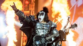 Gene Simmons onstage with Kiss at Download 2015