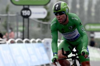Mark Cavendish races in the green jersey on stage 5 of the Tour de France