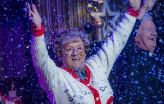 The snow must go on! Brendan O'Carroll as jubilant Mrs Brown