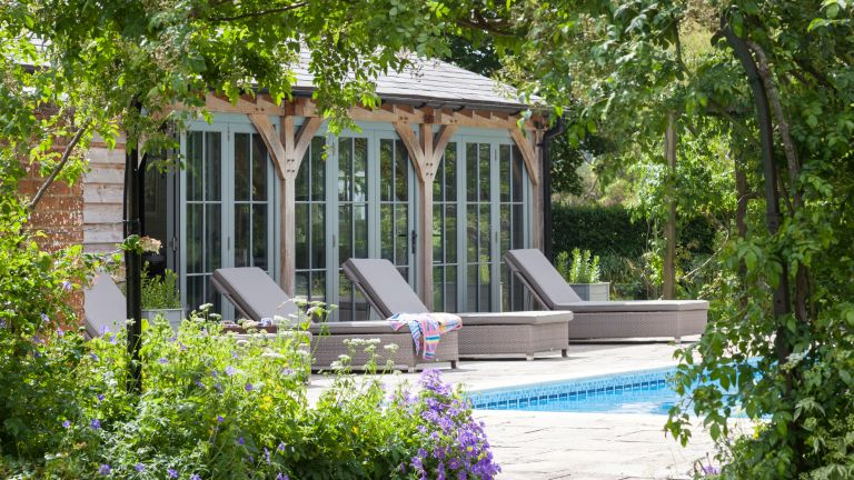 Pool house ideas with Mediterranean style structure