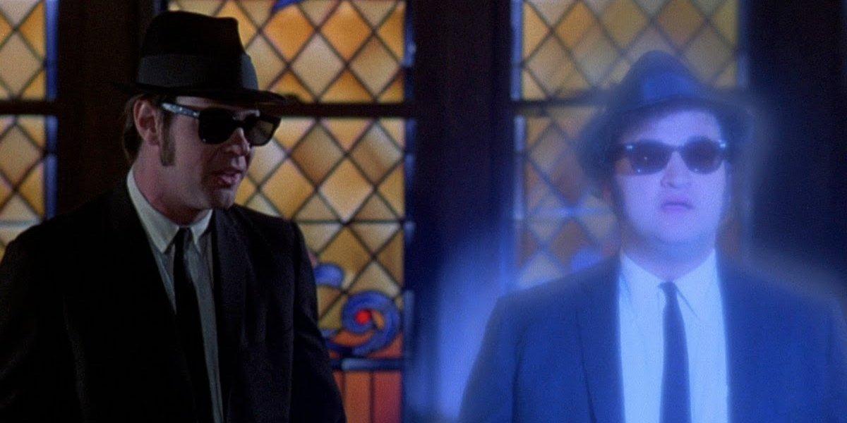 Dan Aykroyd and John Belushi as Elwood and Jake in The BIues Brothers