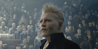 Gellert Grindelwald stands before a crowd of people in 'Fantastic Beasts and Where To Find Them 2'