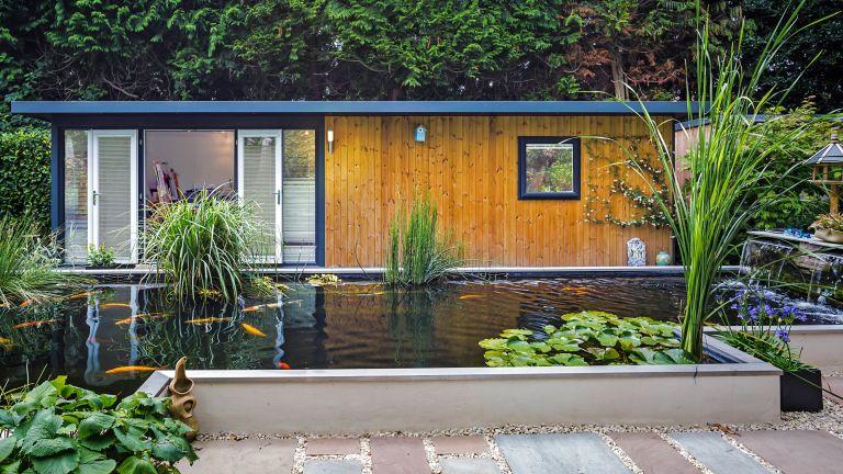 modern garden room ideas alongside a large pond