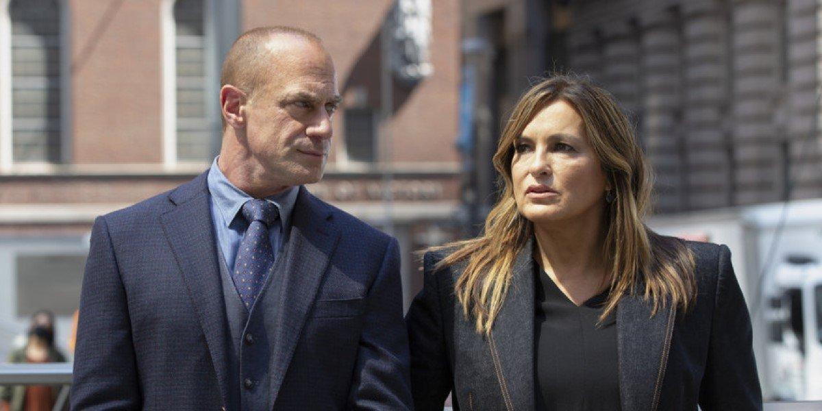 Mariska Hargitay as Olivia Benson and Christopher Meloni as Elliot Stabler in Law & Order: organized crime