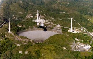 Aerial View of Arecibo Observatory, Arecibo, P.R. The facility is owned by the National Science Foundation and managed by Cornell University