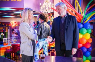 Kathy and Rocky talk in The Albert EastEnders
