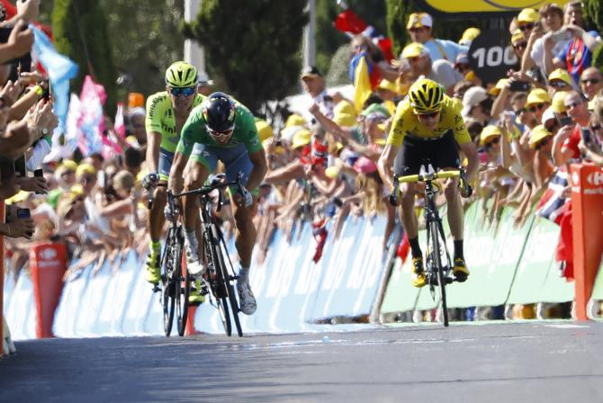 Green jersey Peter Sagan and race leader Froome got away in the finale of stage 11