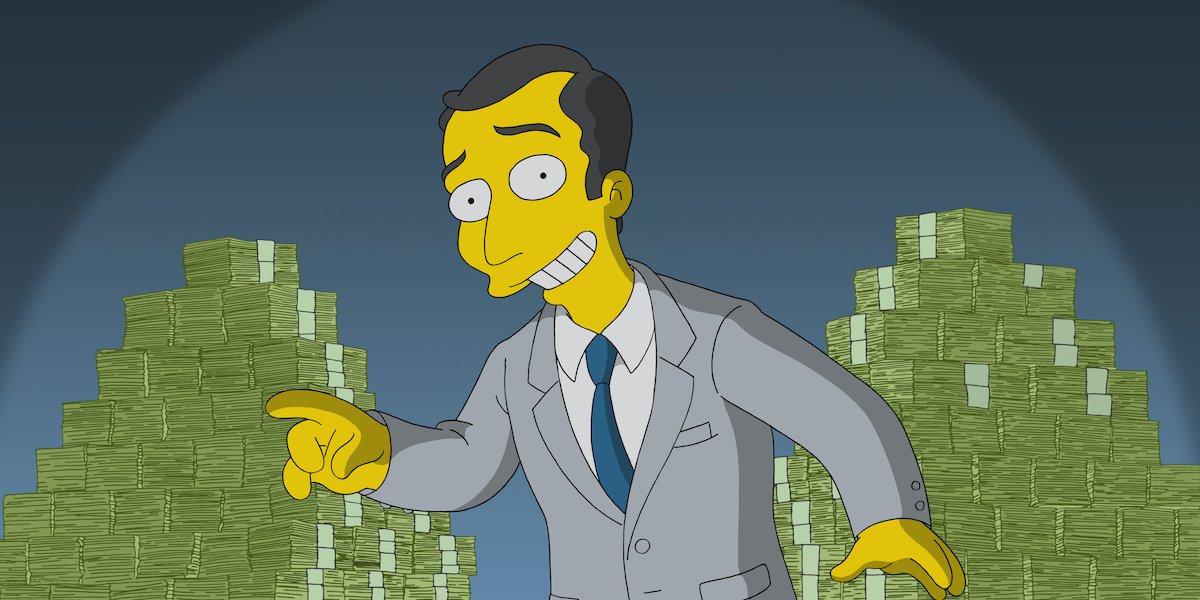 the simpsons salesman money stacks