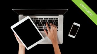 Person working on tablet, laptop and mobile devices