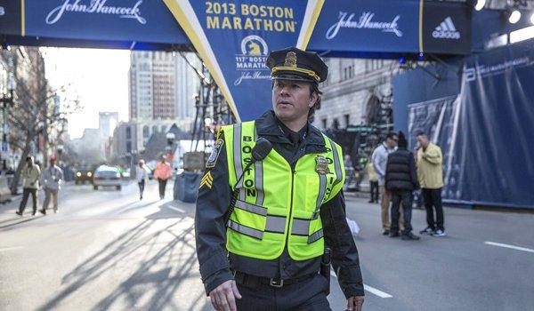 Mark Wahlberg Patriots Day at Boston Marathon finish line
