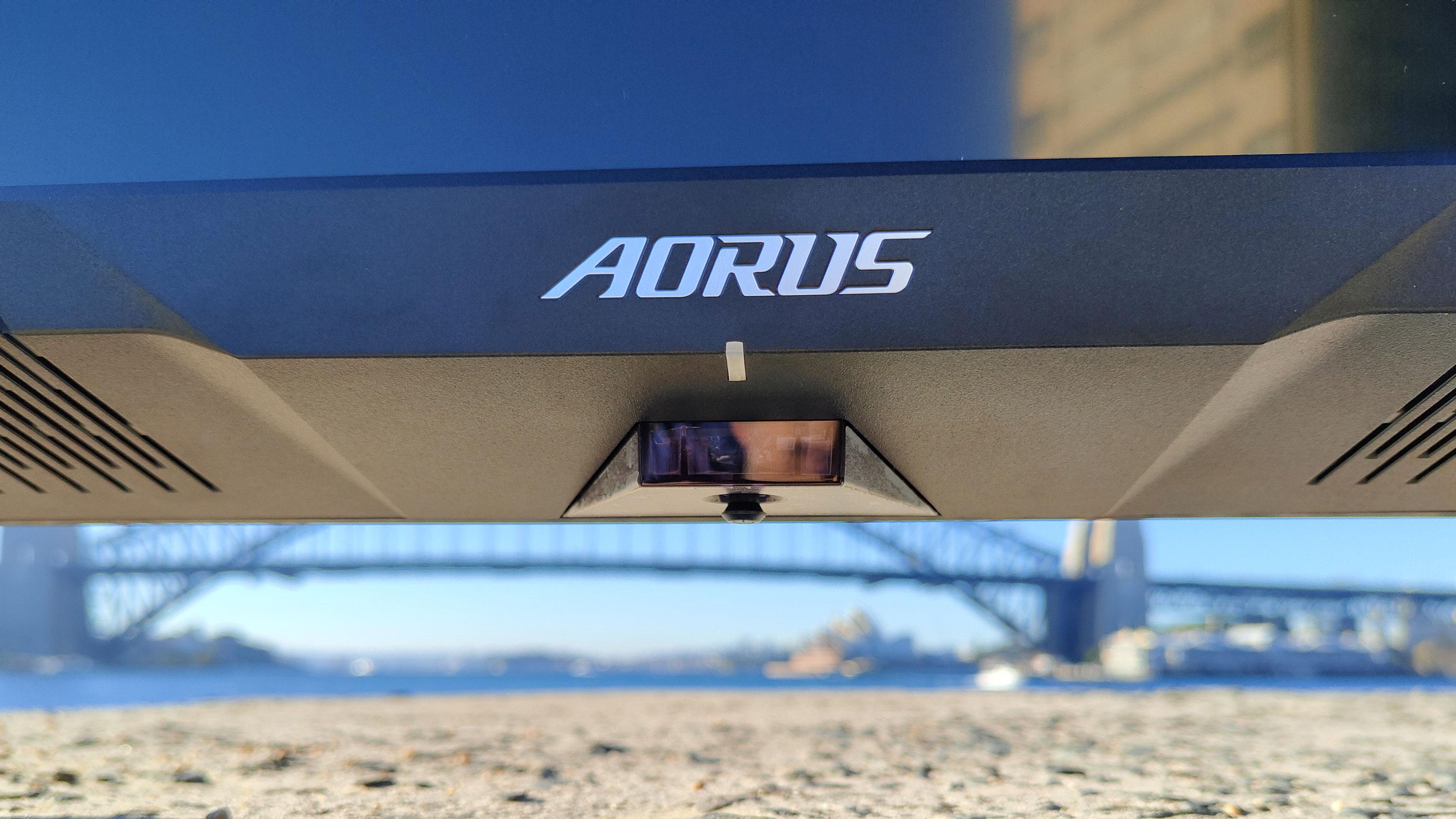 Aorus FV43U branding on monitor