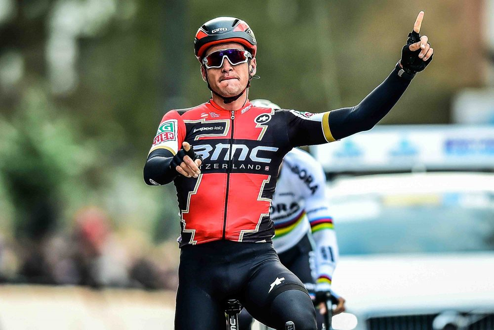 Thumbnail Credit (cyclingweekly.co.uk) (Photo: Yuzuru Sunada): Greg Van Avermaet celebrates victory in Omloop Het Nieuwsblad (Credit: Sunada)