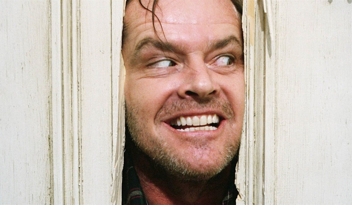 The Shining Jack Nicholson face in door here's johnny Kubrick film