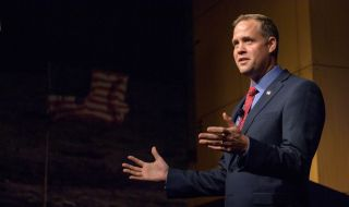 NASA Administrator Jim Bridenstine, seen here at a NASA town hall meeting at the agency's headquarters in Washington, D.C. on May 17, 2018, expressed anguish at a school shooting in Santa Fe, Texas on May 18.
