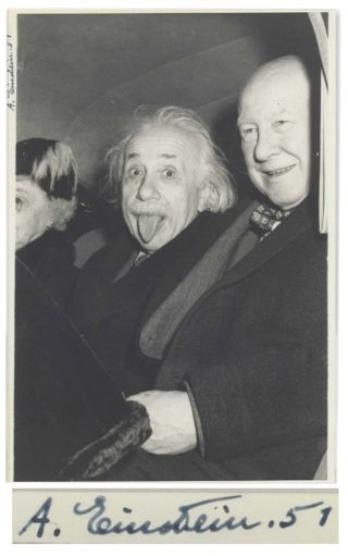 This autographed photo of Albert Einstein with his tongue out was sold at auction for $125,000.