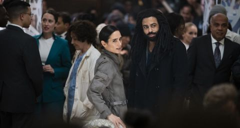 Daveed Diggs and Jennifer Connelly as Andre Layton and Melanie Cavill in 'Snowpiercer'.