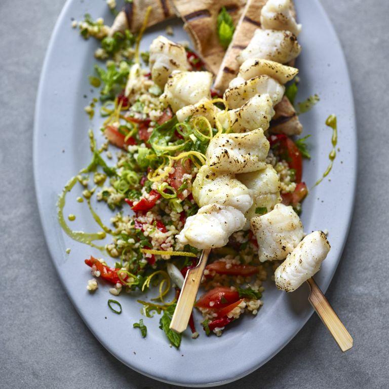 Body coach Joe Wicks Lean in 15 recipe Monkfish kebabs with tabbouleh