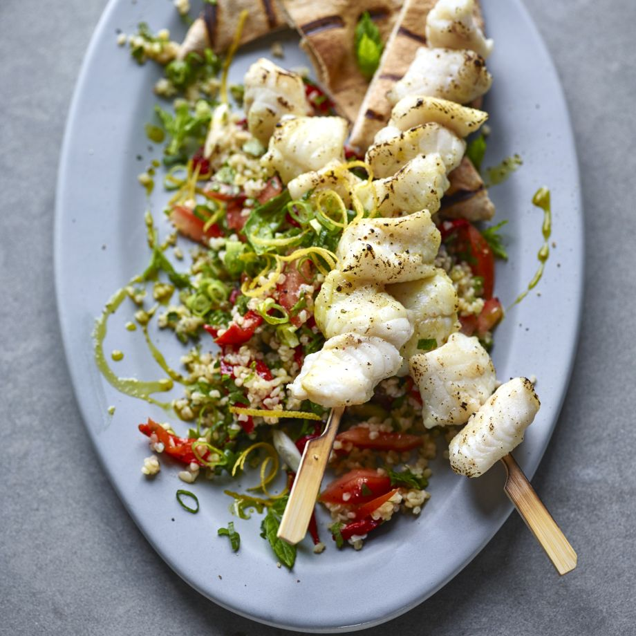 Lemon and Mint Seafood Skewers with Tabbouleh