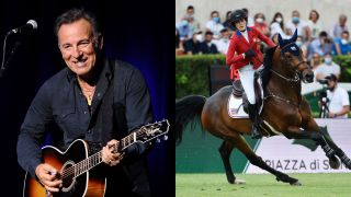 Bruce Springsteen next to daughter Jessica Springsteen on horse