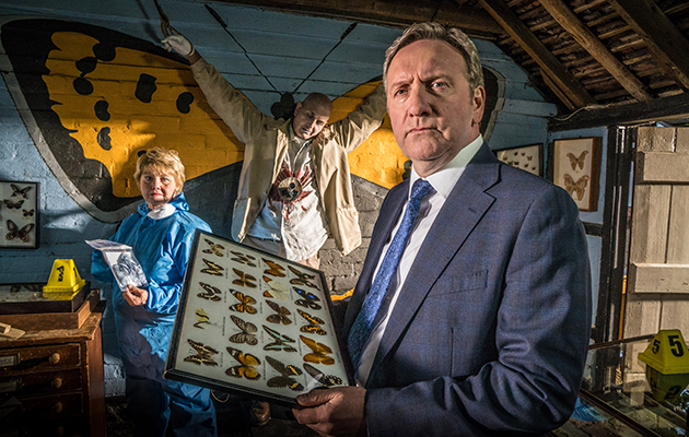 MIDSOMER MURDERS Series 20: Crime scene: Annette Badland as Fleur Perkins with DCI John Barnaby