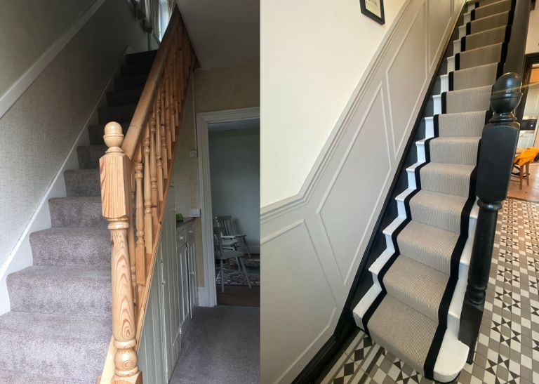 Before and after of hallway makeover with beige runner on black and white painted staircase