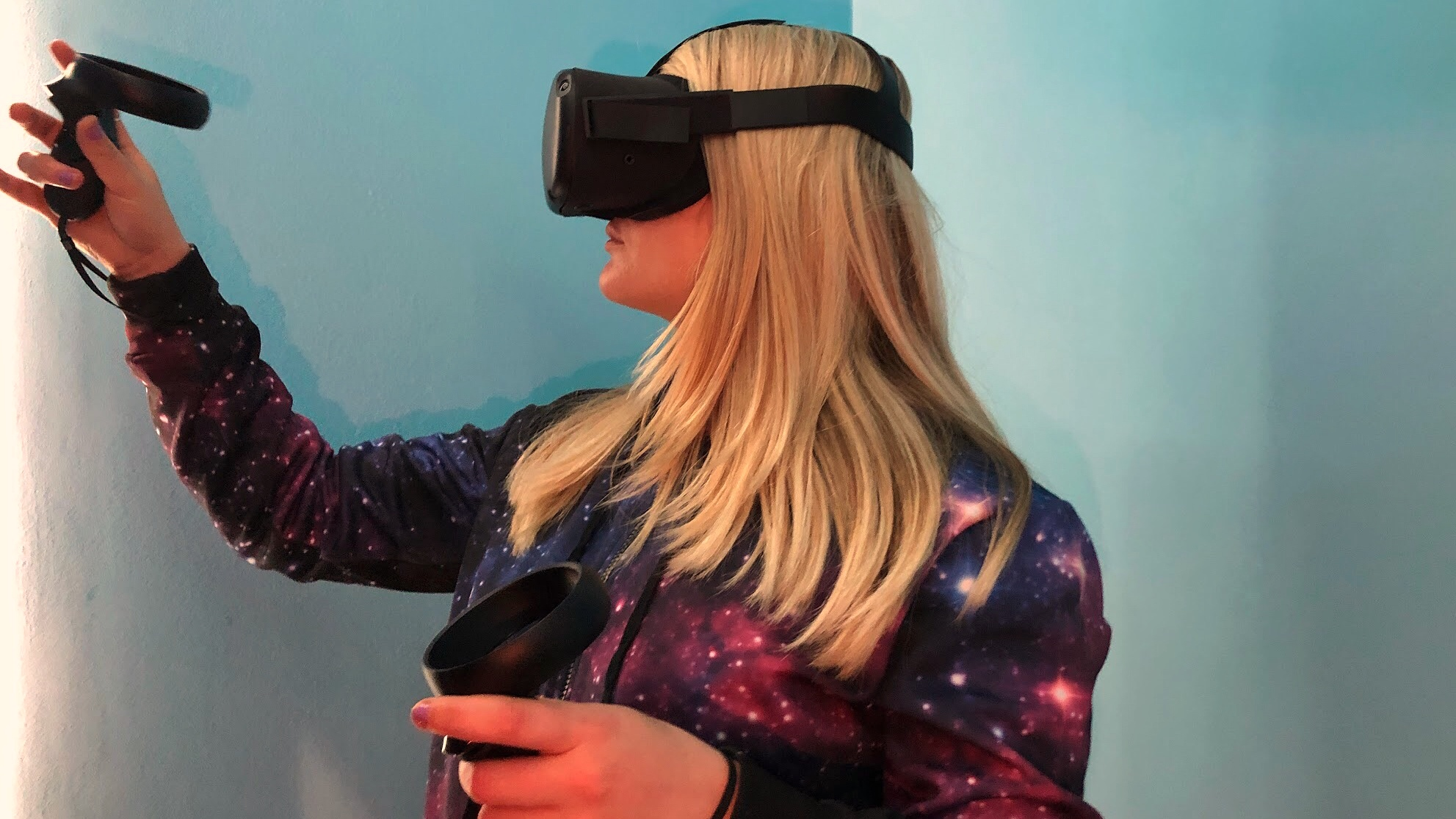An image of becca wearing the Oculus Quest