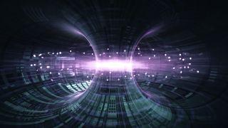 High Energy Particles Flow Through A Tokamak Or Doughnut-Shaped Device.