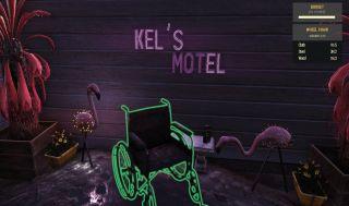 A wheelchair between two flamingos at Kel's Motel