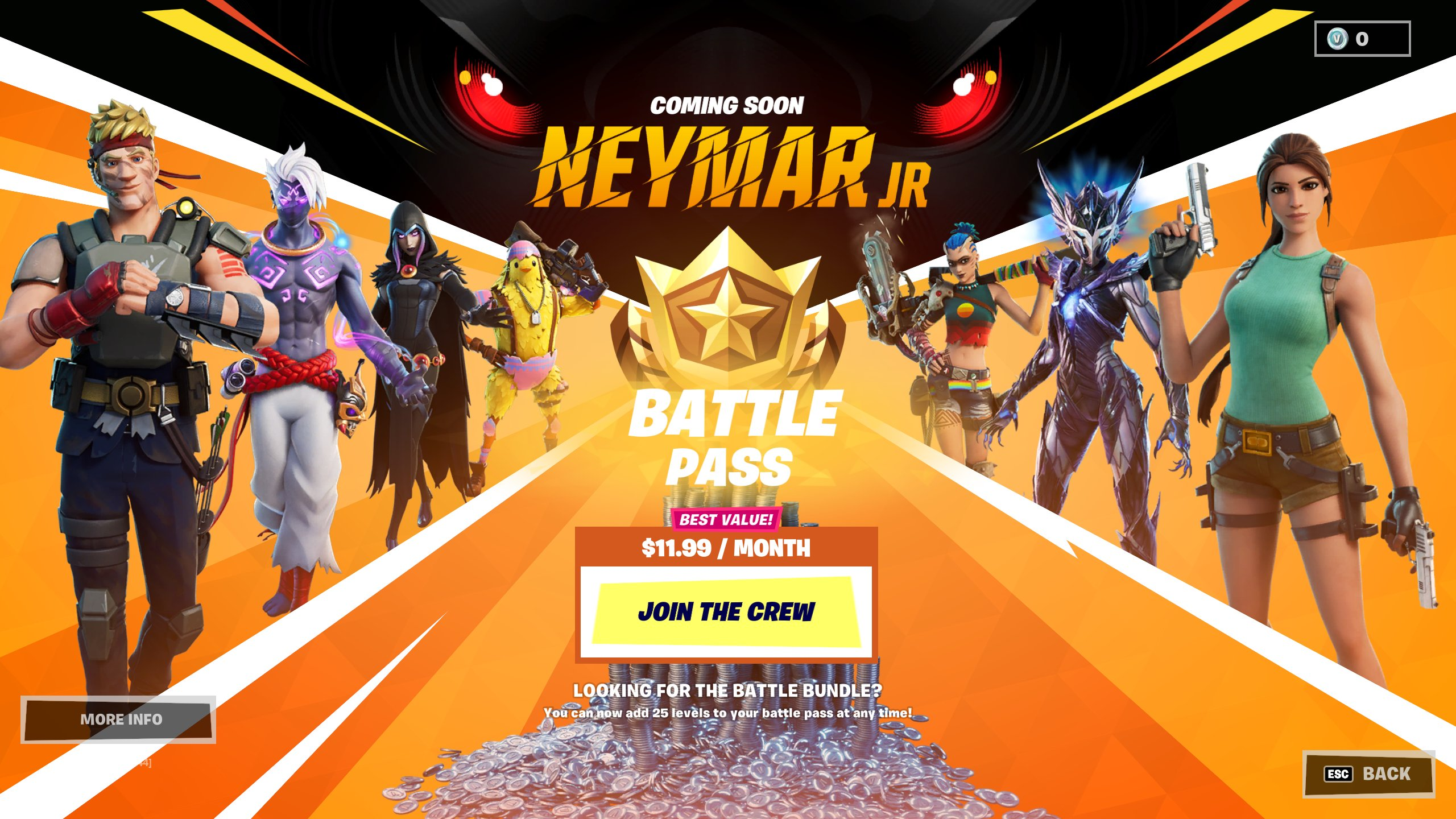 The Fortnite Battle Pass screen showing Neymar Jr.