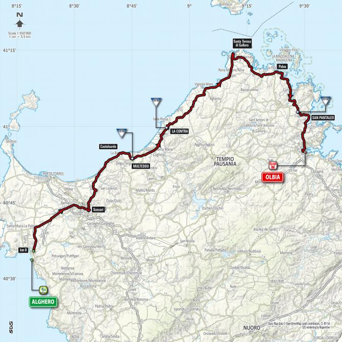 Map of stage 1 of the 2017 Giro d'Italia.
