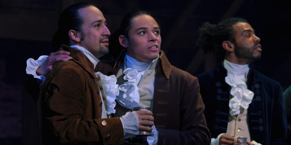 Lin-Manuel Miranda, Anthony Ramos and Daveed Diggs in Hamilton